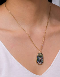Fashion Golden Natural Abalone Shell Tag Geometric Alloy Necklace