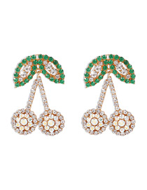 Fashion Ab White Diamond-set Alloy Earrings