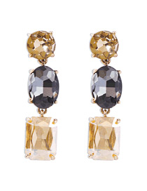 Fashion Gray + Champagne Geometric Shape Decorated Diamond Earrings