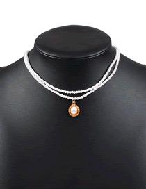 Fashion Pearl White Pearl Alloy Multi-layer Necklace