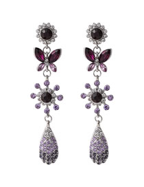 Fashion Purple Butterfly Gradient Diamond Flower Drop Drop Earrings