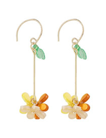 Fashion Color Mixing Handmade Flower Resin Alloy Earrings