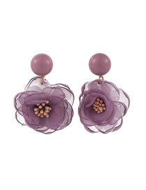 Fashion Purple Lace Flower Alloy Earrings