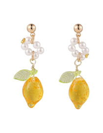 Fashion Earrings Pearl Lemon Resin Alloy Earrings