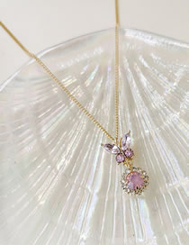 Fashion Pink Butterfly Shape Decorated Diamond Necklace