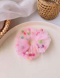Fashion Pink Fabric Mesh Hairball Large Intestine Loop Hair Rope
