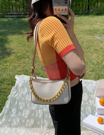 Fashion Creamy-white Thick Chain Solid Color Shoulder Crossbody Bag