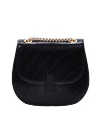 Fashion Black Large Embroidered Thread Chain Quilted Shoulder Crossbody Bag