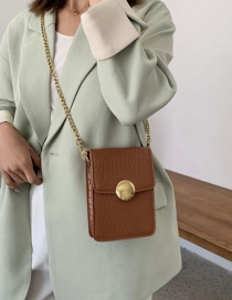 Fashion Brown Stone Cross-body Shoulder Bag With Lock