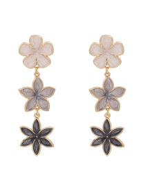 Fashion Gray Dropped Flower Alloy Contrast Earrings
