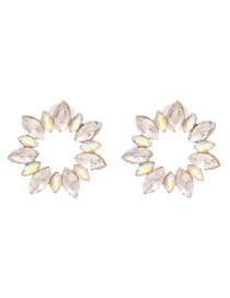Fashion White Diamond Sunflower Hollow Alloy Earrings