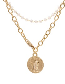 Fashion Golden Geometric Coin Relief Pearl Multi-layer Necklace