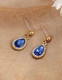 Fashion Royal Blue Micro-set Rhinestone Alloy Drop Earrings