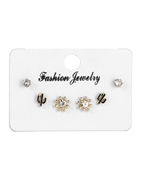 Fashion White Micro Set Crystal Flower Cactus Earring Set