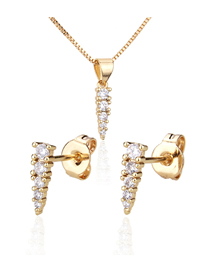 Fashion Golden Diamond-plated Gold-plated Tapered Earring Necklace Set