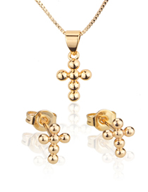 Fashion Golden Round Bead Gold Plated Cross Ear Stud Necklace Set
