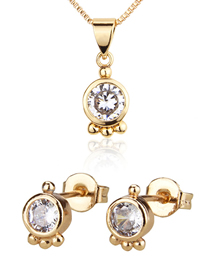 Fashion Gold-plated Blue Zirconium Gold-plated Round Earring Necklace Set With Zircon