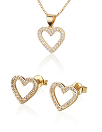 Fashion Golden Heart-shaped Gold-plated And Diamond Hollow Earring Necklace Set