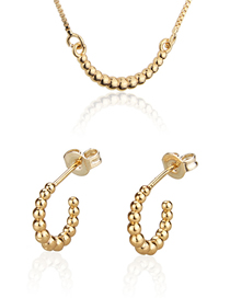 Fashion Golden Bead Gold Plated Geometric C-shaped Earring Necklace Set