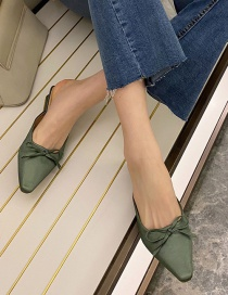 Fashion Green Square Head Bowknot Middle Heel Baotou Half Slippers (3-5cm)