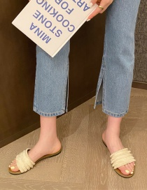 Fashion Apricot Flat Sandals With Open-toe Fringe