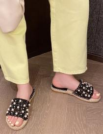 Fashion Black Rivet Flat Bottom Wide Edge Fisherman Sandals And Slippers