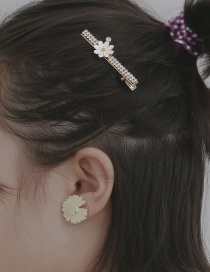 Fashion White Handmade Geometric Rhinestone Daisy Square Hairpin Earrings