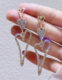 Fashion Golden Rhinestone Love Hollow Alloy Earrings