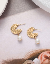 Fashion Golden Pearl Irregular Convex Earrings