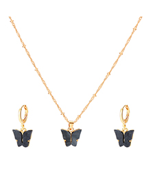 Fashion Black Resin Butterfly Alloy Round Bead Earring Necklace Set
