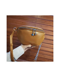 Fashion Brown Chain Five-pointed Star Shoulder Bag