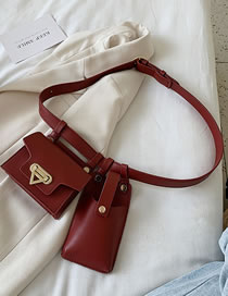 Fashion Red Wine Flap Metal Lock With Multiple Belt Bags