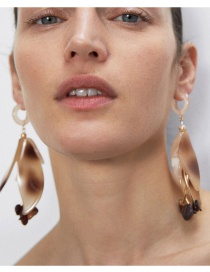 Fashion Color Mixing Resin Flower Geometric Alloy Earrings