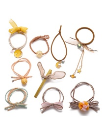 Fashion Yellow Bow Resin Moon Pentagram Knotted Hair Rope Set