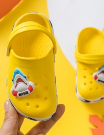 Fashion Lemon Yellow Shark Animal Hits Childrens Hole Sandals And Slippers