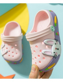 Fashion Pink Bunny Monkey Rabbit Hit Color Childrens Hole Sandals And Slippers