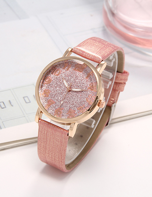 Fashion Pink Starry Sky Surface Strap Watch Digital Hands Ladies Quartz Watch