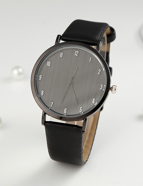 Fashion Black Digital Watch With Ultra-thin Dial With Pu Belt
