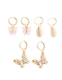 Fashion Golden Butterfly Diamond Natural Shell Alloy Earrings