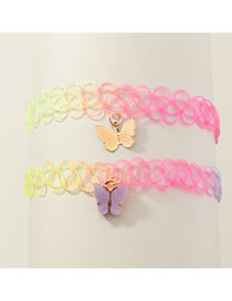 Fashion Color Mixing Butterfly Resin Alloy Hollow Necklace