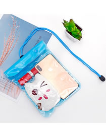 Fashion Light Blue Large Touch Screen Transparent Mobile Phone Waterproof Bag