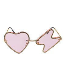 Fashion Pink Shiny Heart-shaped Diamond Asymmetric Sunglasses With Lightning