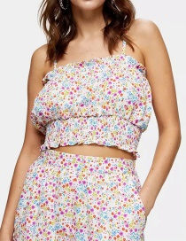 Fashion Color Ruffled Pleated Top With Small Floral Strap
