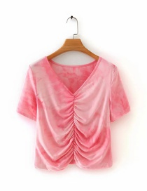 Fashion Pink Tie-dye Pleated V-neck Short Top
