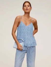 Fashion Blue Small Floral Pleated Pleated Sling Top