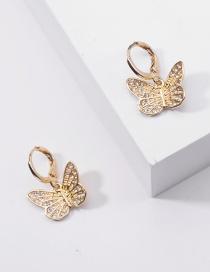 Fashion Golden Metal Butterfly Point Drill Alloy Earrings