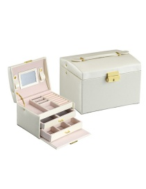Fashion Rain Silk White Pu Leather Box Three Layer Double Drawer Jewelry Box