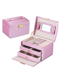 Fashion Rain Silk Purple Pu Leather Box Three Layer Double Drawer Jewelry Box