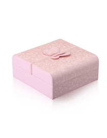 Fashion Pink Bowknot Leather Jewelry Box