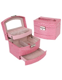 Fashion Pink Crocodile Pattern Leather Three-layer Storage Jewelry Box With Mirror
